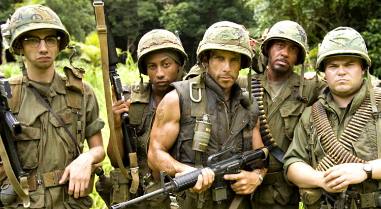 Tropic Thunder with Ben Stiller, Jack Black, Robert Downey Jr