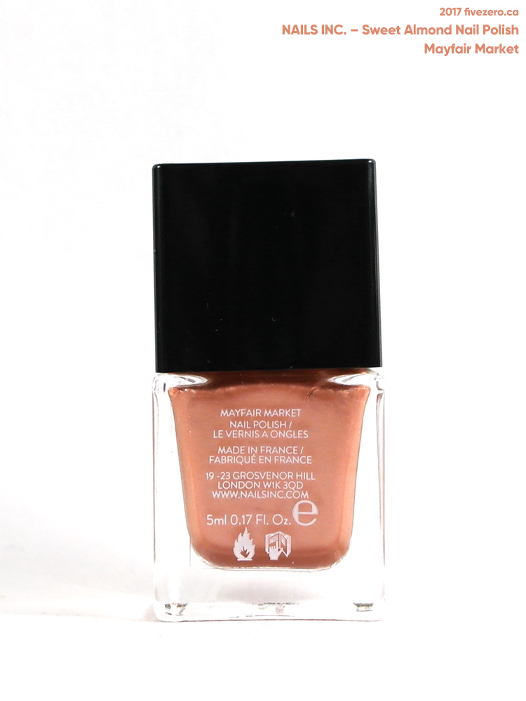 Nails Inc. Sweet Almond Nail Polish in Mayfair Market (mini), label