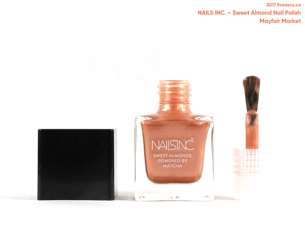 Nails Inc. Sweet Almond Nail Polish in Mayfair Market (mini), brush