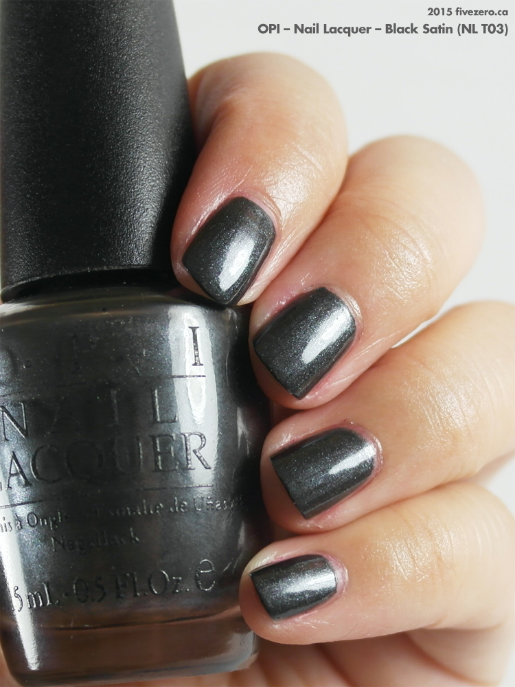 OPI Nail Lacquer in Black Satin, swatch
