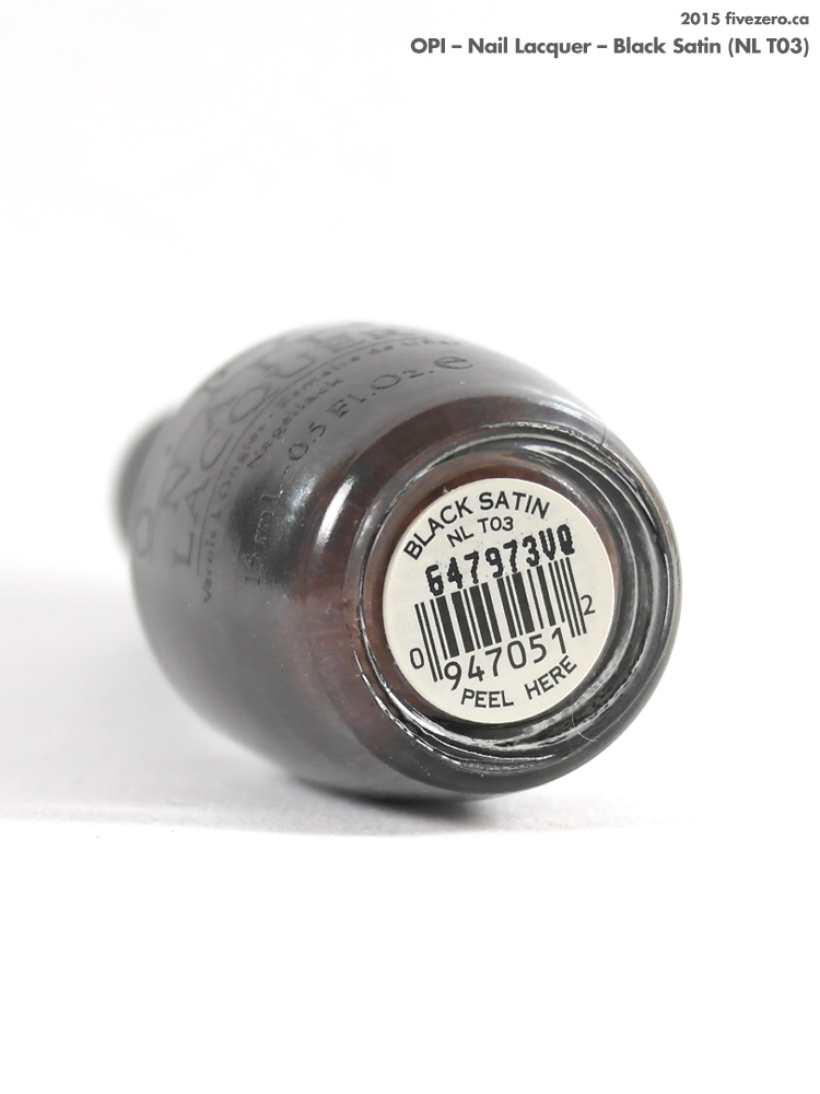 OPI Nail Lacquer in Black Satin, label