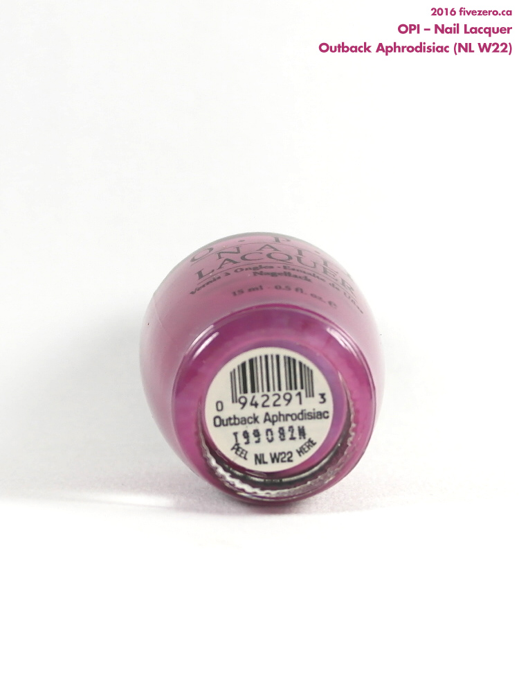 OPI Nail Lacquer in Outback Aphrodisiac, label