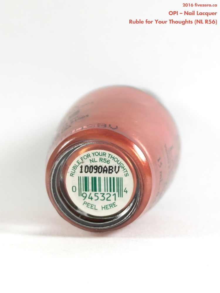 OPI Nail Lacquer in Ruble for Your Thoughts, label
