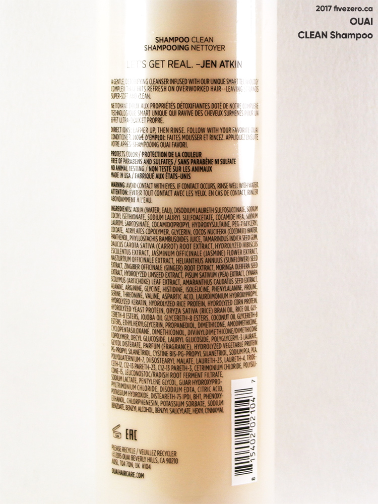 OUAI CLEAN Shampoo, label
