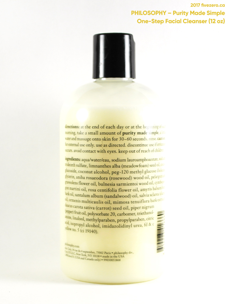 philosophy Purity Made Simple One-Step Facial Cleanser (12 oz), label