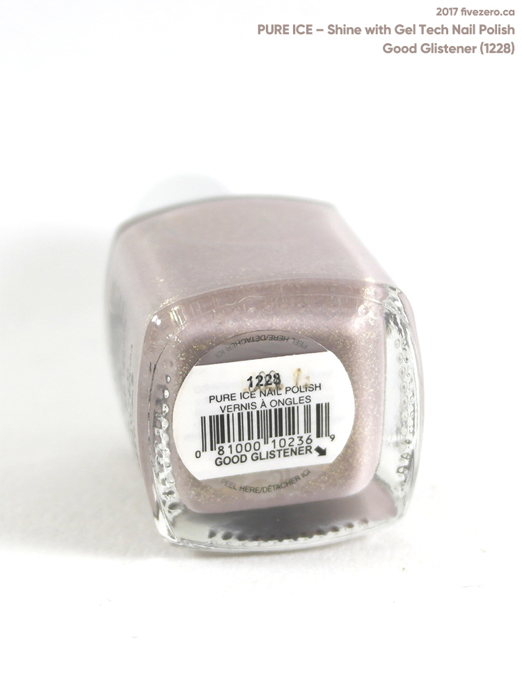 Pure Ice Shine with Gel Tech Nail Polish in Good Glistener, label