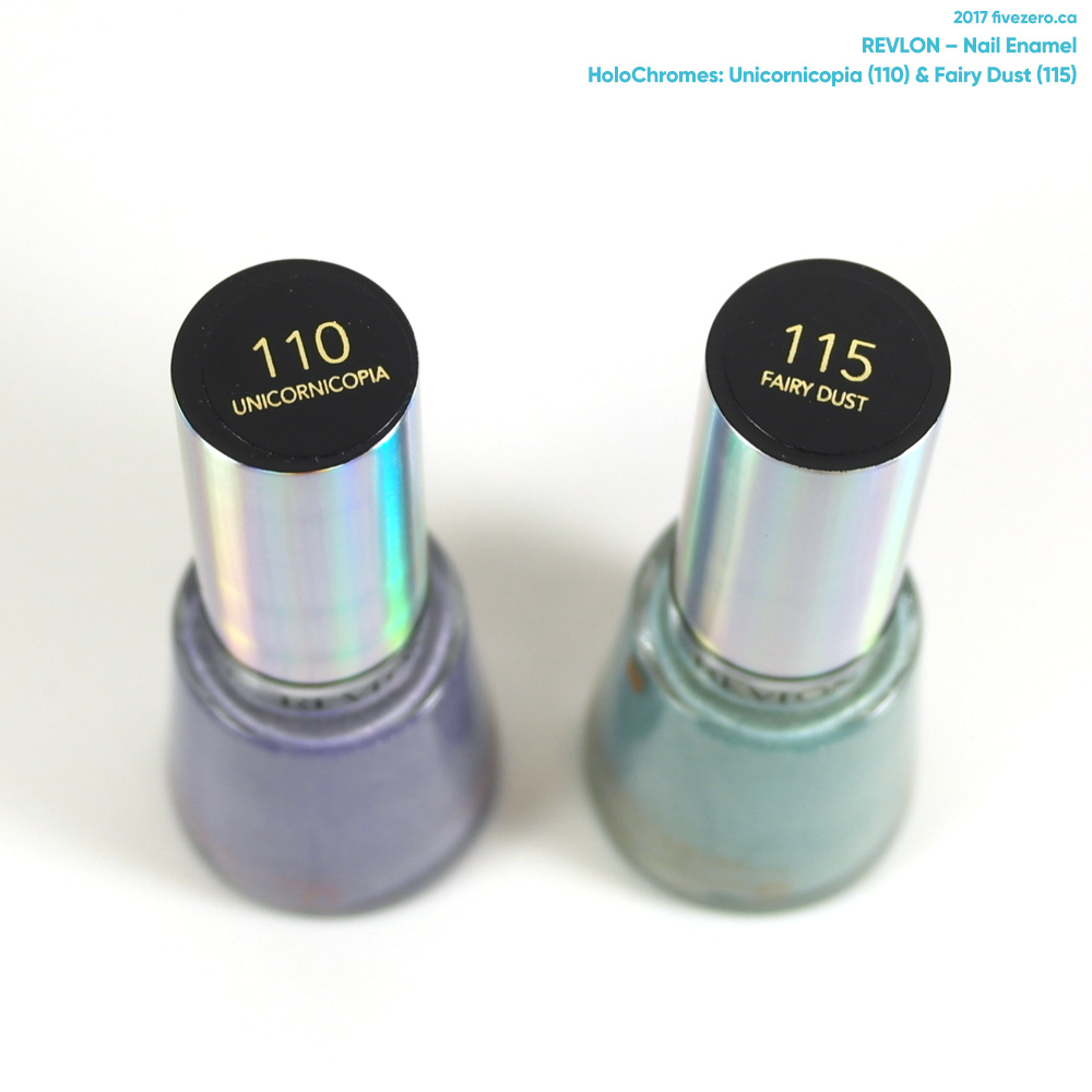 Revlon Nail Enamel in Unicornicopia & Fairy Dust, labels