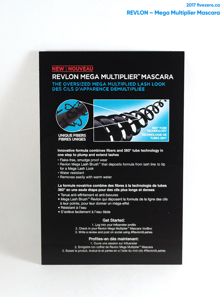 Revlon Mega Multiplier Mascara info card