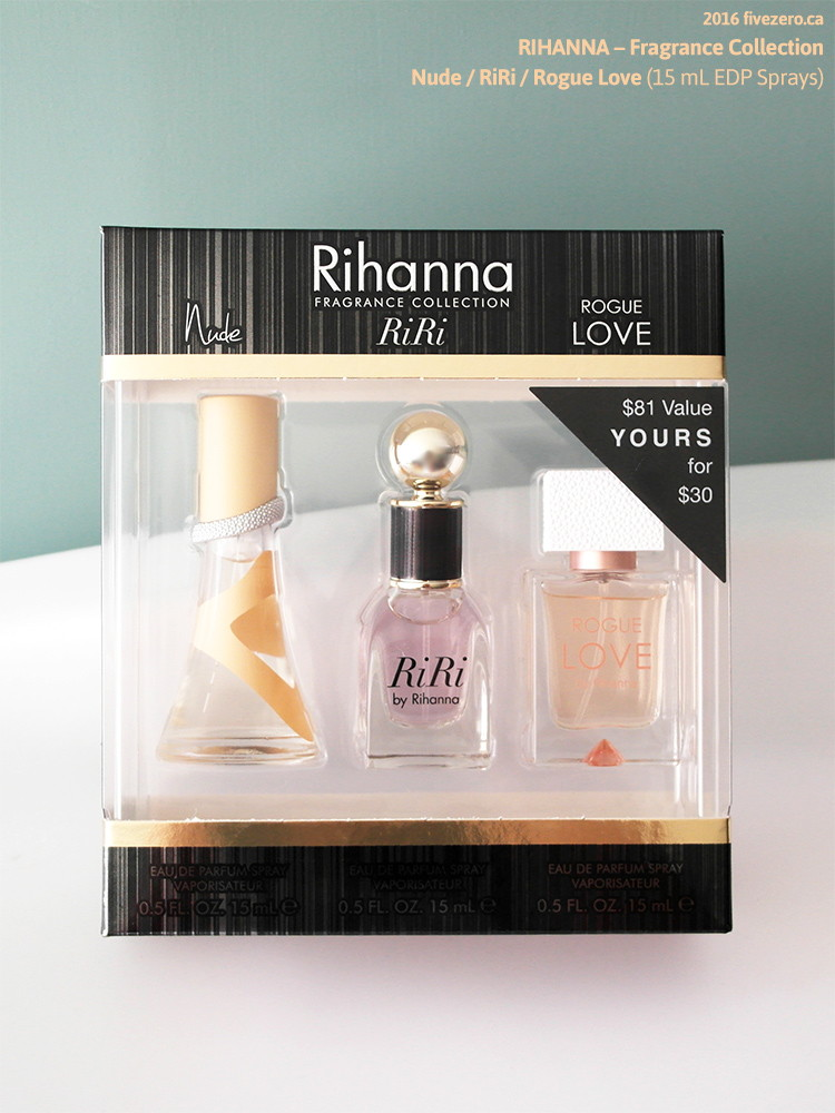 Rihanna Fragrance Collection: Nude, RiRi, & Rogue Love EDPs (15 mL)