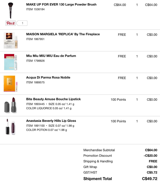 fivezero's Sephora VIB discount order (December 2016)