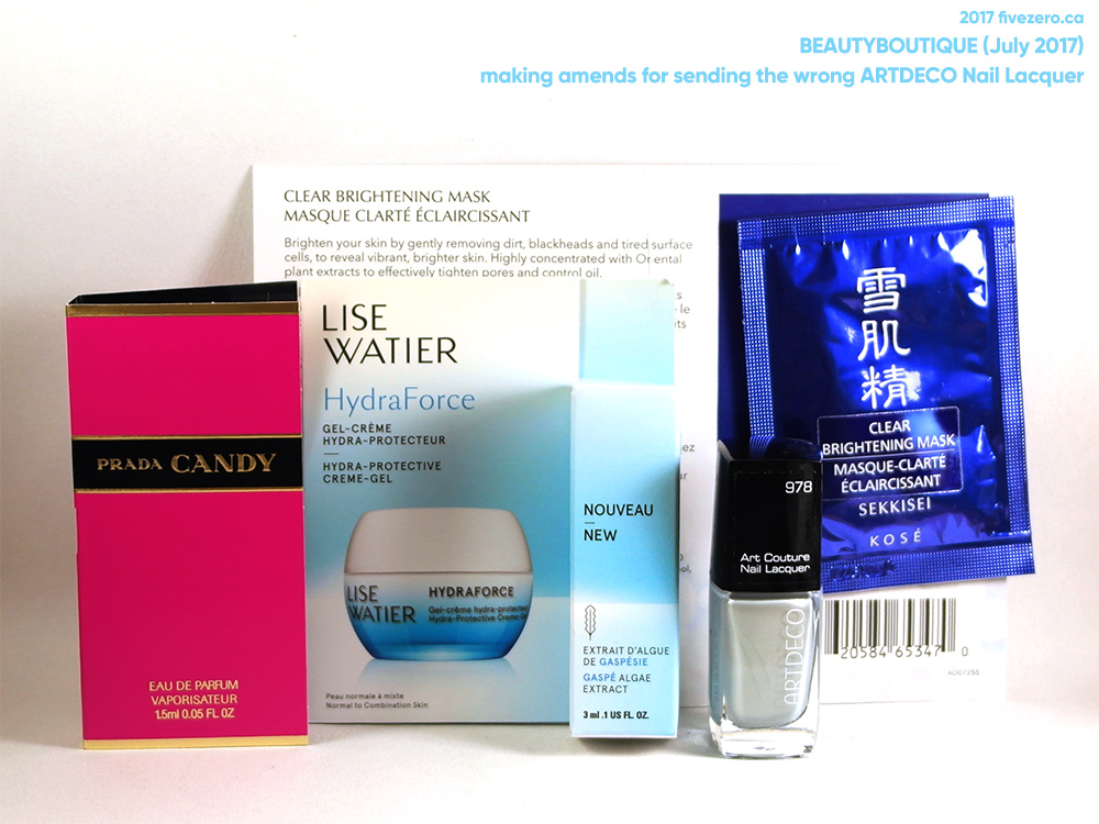fivezero's beautyBOUTIQUE haulage, July 2017, replacement ARTDECO Nail Lacquer in Silver Willow, with free samples from Lise Watier, Prada, and Sekkisei