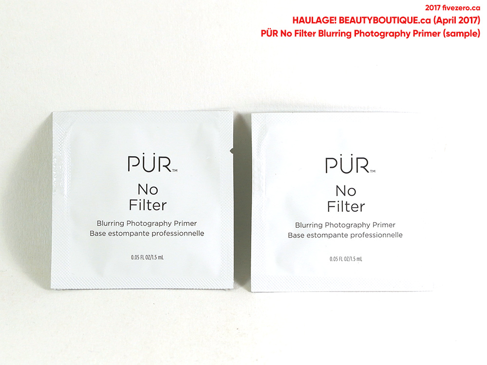 fivezero's beautyBOUTIQUE haulage, sample of Pür No Filter Blurring Photography Primer (April 2017)