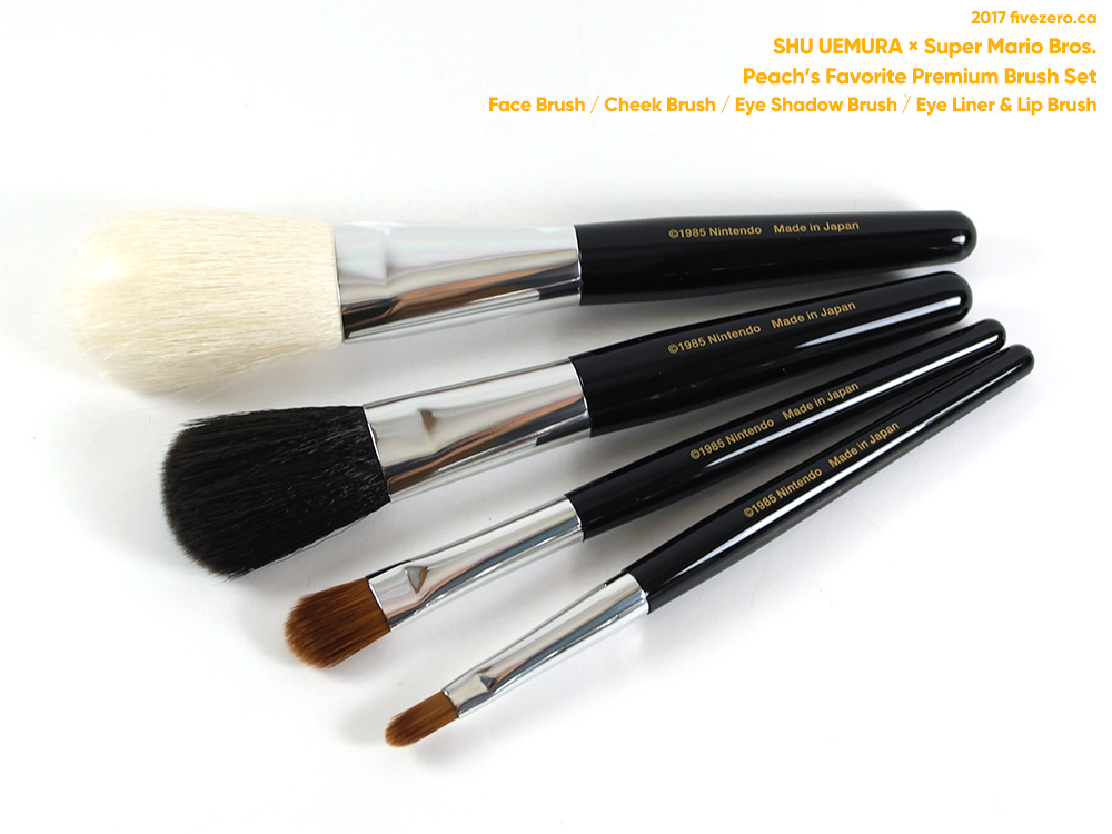 shu uemura x super mario bros. collection, peach's favorite premium brush set