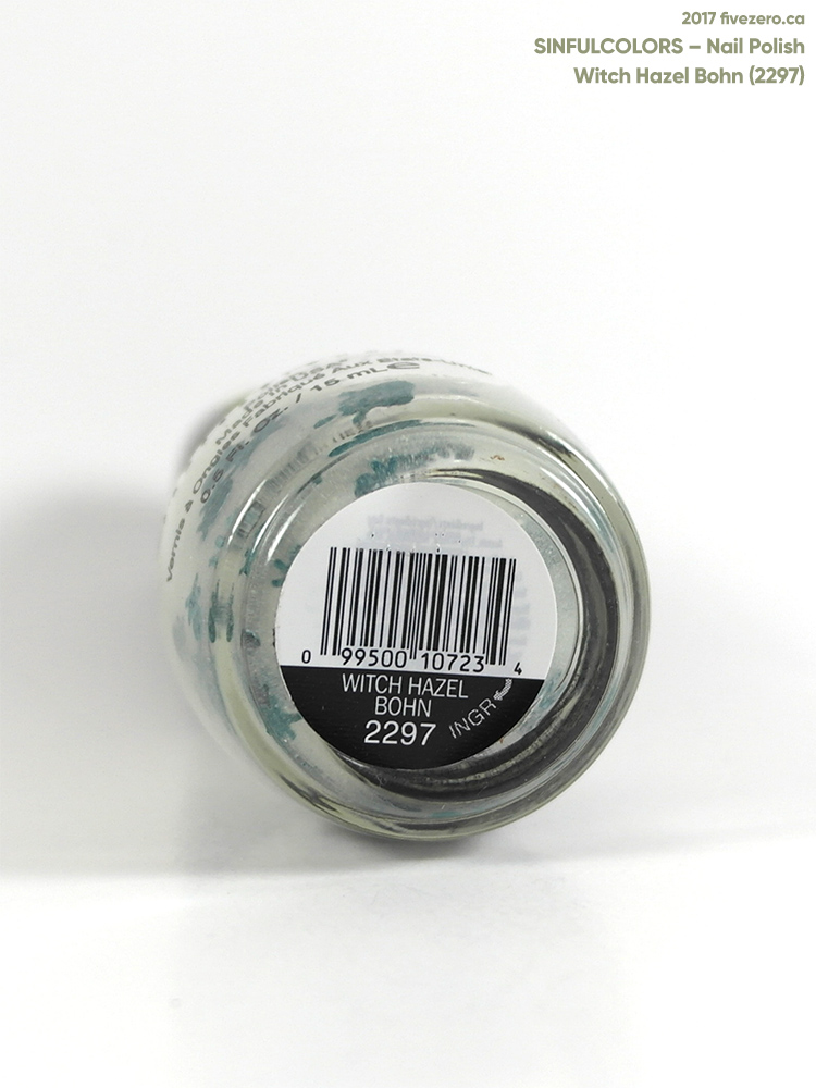 SinfulColors Nail Polish in Witch Hazel Bohn (Glow-in-the-Dark), label
