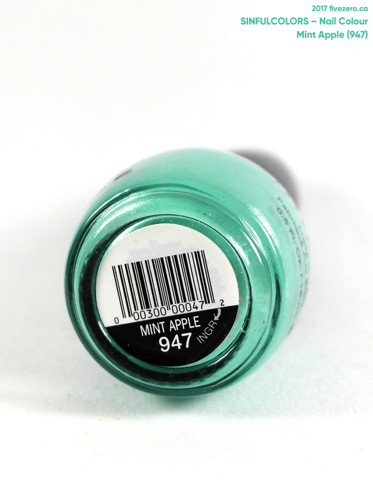 SinfulColors Nail Colour in Mint Apple, label