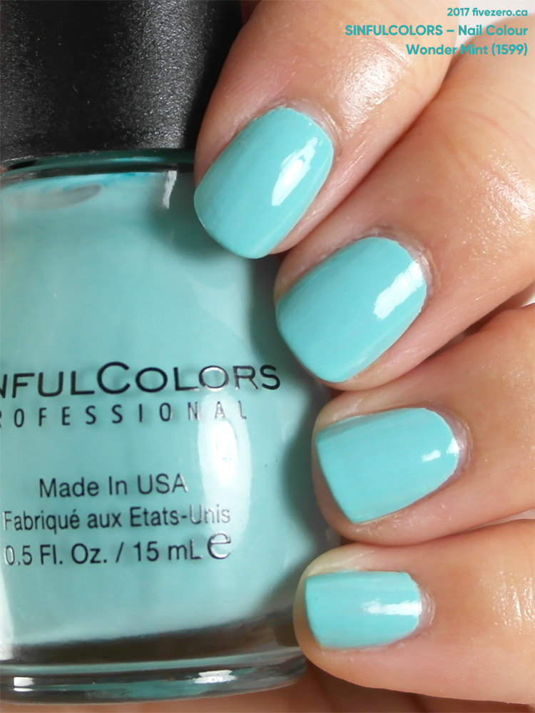 SinfulColors Nail Colour in Wonder Mint, swatch