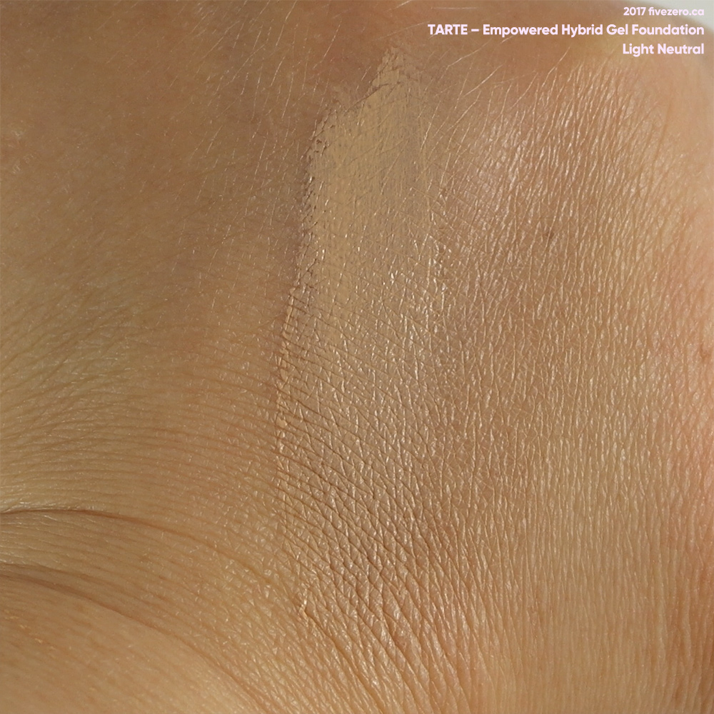 tarte Empowered Hybrid Gel Foundation in Light Neutral, swatch