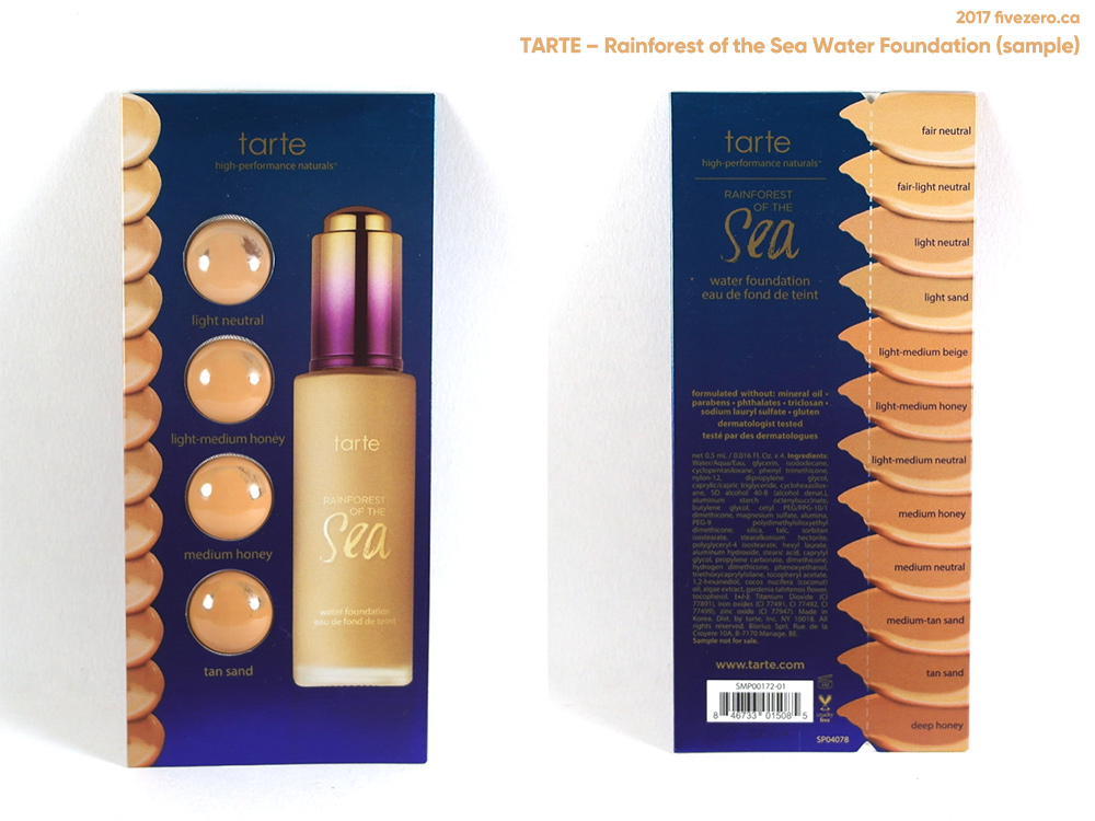 tarte Rainforest of the Sea Water Foundation, sample