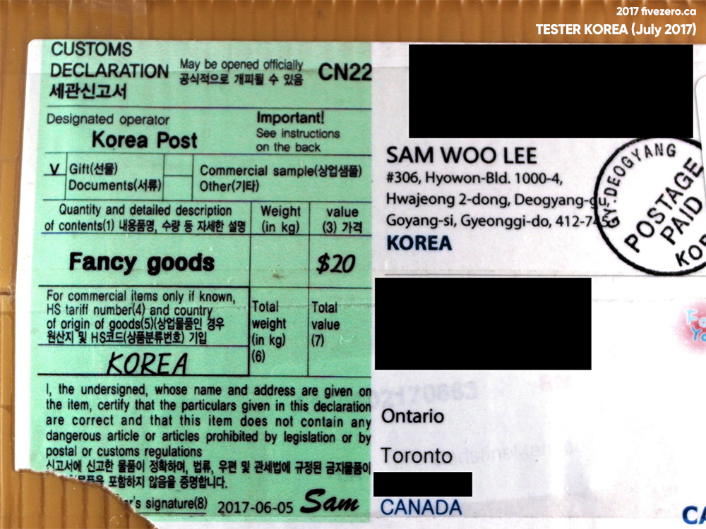 Tester Korea, fivezero's haulage, July 2017, fancy goods customs shipping label