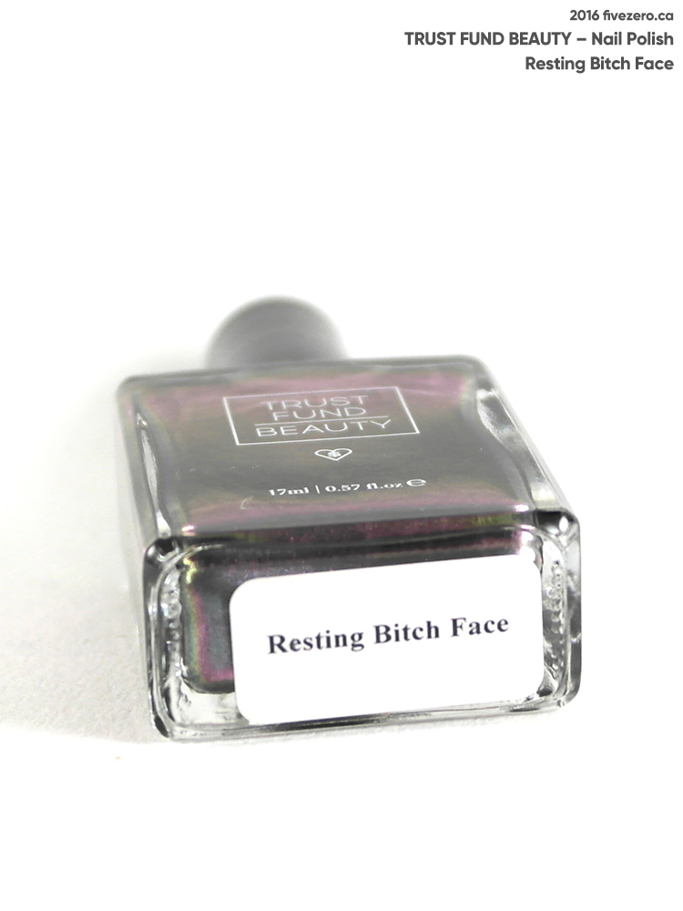 Trust Fund Beauty Nail Polish in Resting Bitch Face, label