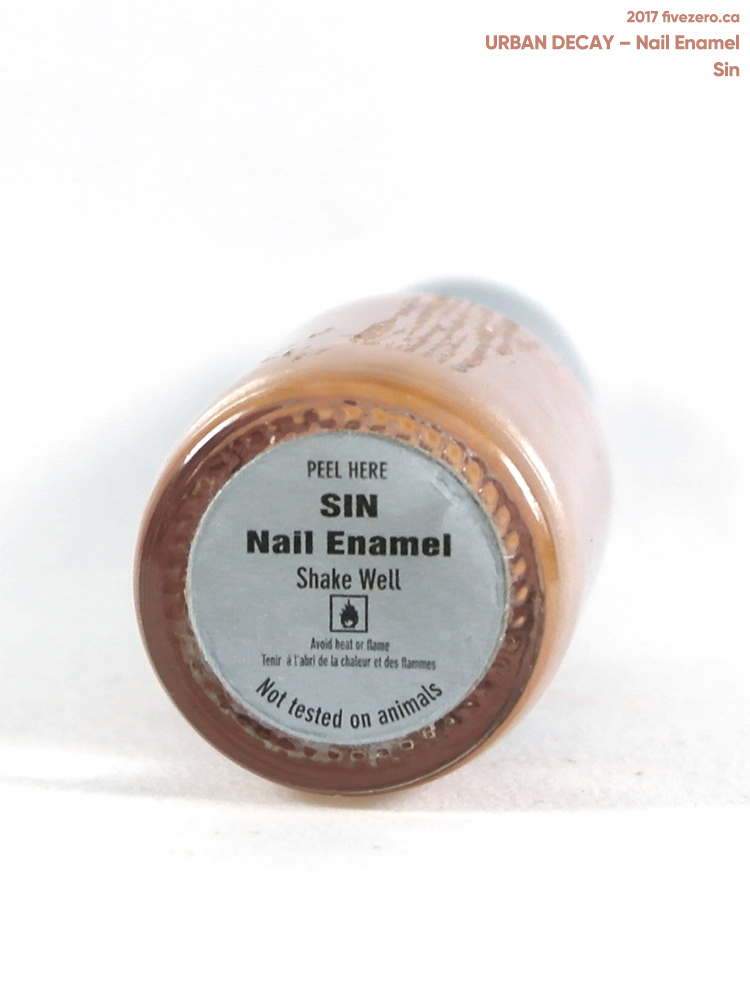 Urban Decay Nail Enamel in Sin, label