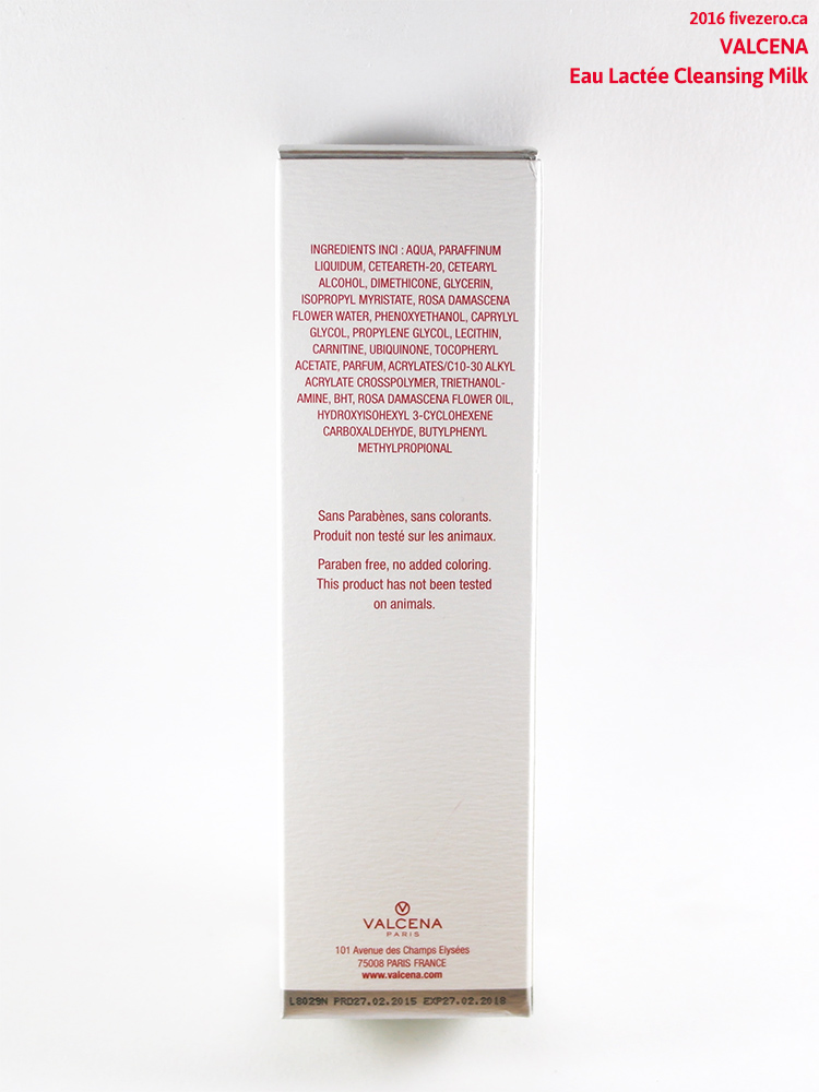 Valcena Eau Lactée Cleansing Milk, ingredients