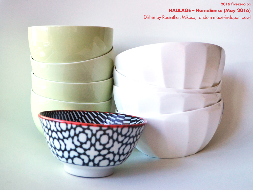 HomeSense dishes by Rosenthal Sunny Day Fruit & Cereal Bowls in Pastel Green, Mikasa, random Japanese bowl