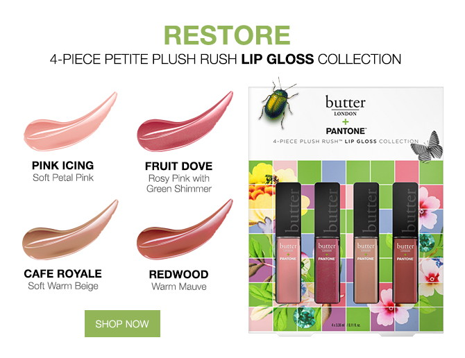 butter LONDON + Pantone Color of the Year 2017 Restore Plush Rush Lip Gloss collection