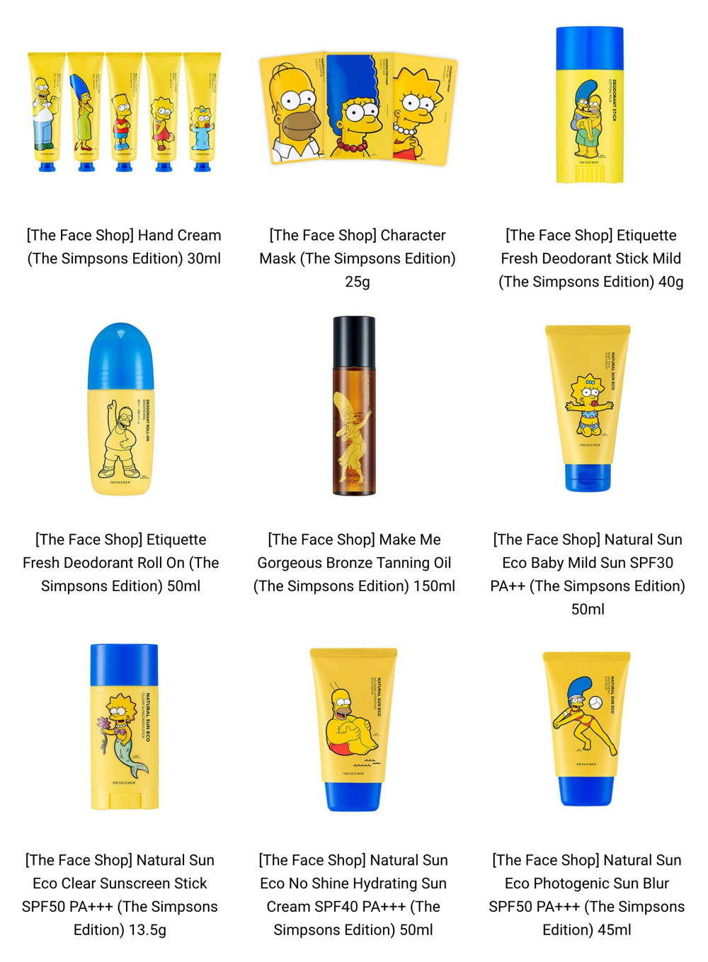 New Release: The Face Shop × The Simpsons (Summer 2017