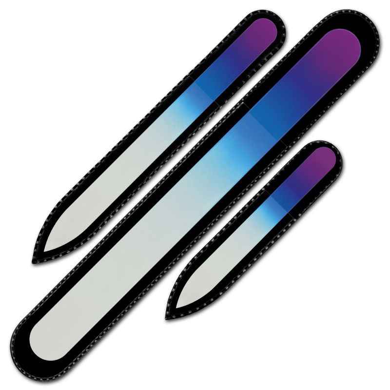 Mont Bleu Set of 3 Rainbow Crystal Nail Files in Purple Pink
